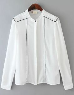 Shop Stand Collar White Blouse at ROMWE, discover more fashion styles online. White Button Shirt, White Shirts, Formal Tops, Casual Tops, Simple Blouse Pattern, Gents Kurta, Mens Designer Shirts, Long Shirt Dress, Black And White Blouse