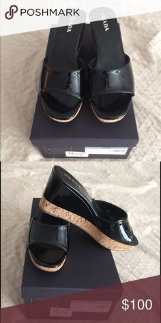 Black Prada Wedges. Vernice Wedge. New still in the box Prada wedges!! Excellent conditions! Prada Shoes Wedges