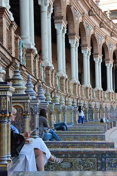 Plaza de Espana, Seville. Beautiful architecture and an amazing perspective shot.