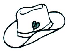 Free Cowboy hat hand Embroidery Design | Outline Cowboy Hat