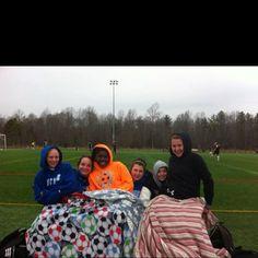 My cold, crazy soccer girls!:)