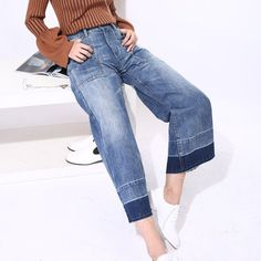 Now available on our store : Ripped Fringed De... Check it out here ! http://www.ninics.com/products/ripped-fringed-denim-wide-leg-denim-pant