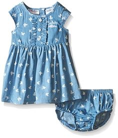 Calvin Klein Baby Girls Butterfly Print Chambray Dress and Panty Blue 18 Months -- Click image for more details.