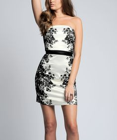 This Sara Boo Black & White Floral Strapless Dress by Sara Boo is perfect! #zulilyfinds