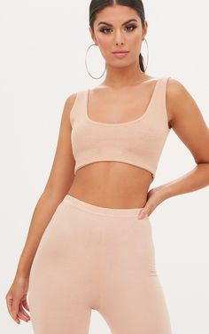 16f4095faa04bc White Second Skin Slinky Square Neck Crop Top in 2019