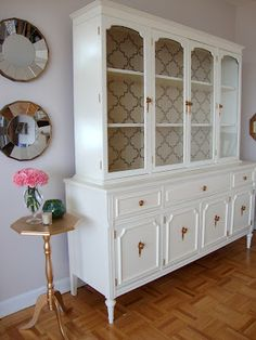 China hutch primed with Zinsser Cover Stain, Behr paint Cottage White then 2-3 coats water-based Varathane.