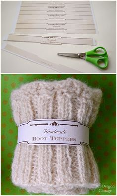 Handmade Gift- Knitted Boot Cuffs with Free Printable Tag Wraps