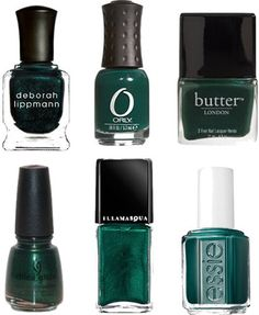 5 green polishes I'd like to have - Deb Lippman, Don't Tell Mama; ORLY, Wandering Vine; Butter London, British Racing Green; China Glaze, Emerald Sparkle & Illamasqua, Viridian.