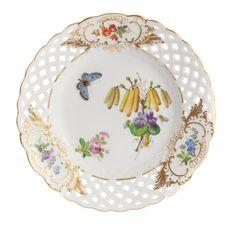 Teller, durchbr., Blume naturalistisch, m.Schmetterling, Schilderorn.goldstaff., Goldr., ø 15 cm