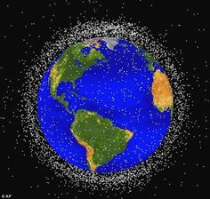 Those dots represent the junk orbiting earth. There are 370,000 pieces of junk floating in space at speeds of up to 22,000mph.
