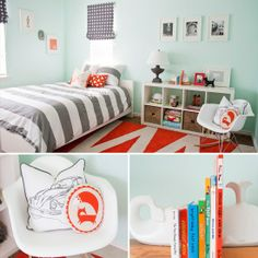 love the light blue walls, and the aqua, grey and orange mixed in