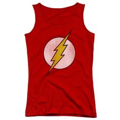 Get more zip with whatever you're doing when you wear this Flash Distressed Logo Juniors Tank Top. Perfect for lounging around the house, for superhero-themed events such as 5K or fun runs or just to