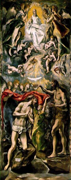 The baptism of Christ - El Greco, 1596-1600
