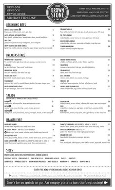 Brunch menu  www.brownstonefw.com