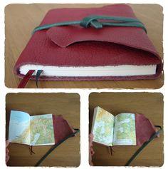 Handgemaakt boekje met atlaskaarten van Scnadinavie als schutbladen. Verkocht. Meerdere andere atlasboekjes op voorraad of verzoek. info@schrijf-boek-winkel.nl