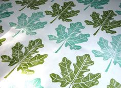 Fig Leaf hand printed linen fabric by the yard by giardino on Etsy, $80.00