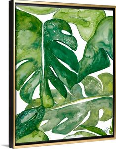 Watercolor painting of big leaves in different green tones. Green watercolor art - Watercolor Party III Wall Art by Kat Papa from Great BIG Canvas.