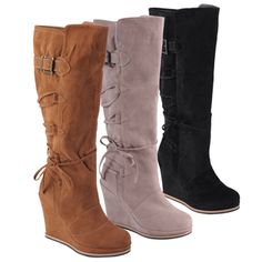 @Overstock - The elegantly crafted lace-up knee-high boots for women by Hailey Jeans Co are the perfect addition to any outfit. These stylish, comfortable boots are made of faux suede and feature a wedge-style heel with a faux fur lining. http://www.overstock.com/Clothing-Shoes/Hailey-Jeans-Co.-Womens-Bree-Round-Toe-Lace-up-Detail-Wedge-Boots/7279814/product.html?CID=214117 $59.99