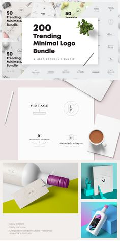 Introducing another new big and amazing 200 Trending Minimal Logo Bundle to different types of professionals for their personal or commercial branding. #AffiliateLink