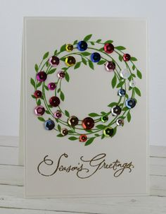Corporated: CAS Christmas Challenge - September 2018 - Wreath - Before After DIY Christmas Cards 2018, Christmas Card Crafts, Homemade Christmas Cards, Printable Christmas Cards, Homemade Cards, Holiday Cards, Christmas Card Making, Diy Christmas Cards Cricut, Christmas Cookies