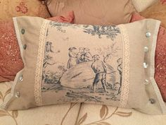 """Stitching By A Cornish Sea Shore: """"The toile linen is beautiful. The lace trim is vintage and I used an old laundered bed pillow folded in half for the filling."""""""