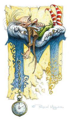 Le grand livre des korrigans Fairy Drawing Dwarf Gnome - Letter M clocks and sleeping dwarf the old man / by Pascal Moguerou Alphabet Art, Letter Art, Typography Alphabet, Graffiti Alphabet, Art Fantaisiste, Art Et Illustration, Illuminated Letters, Calligraphy Art, Islamic Calligraphy