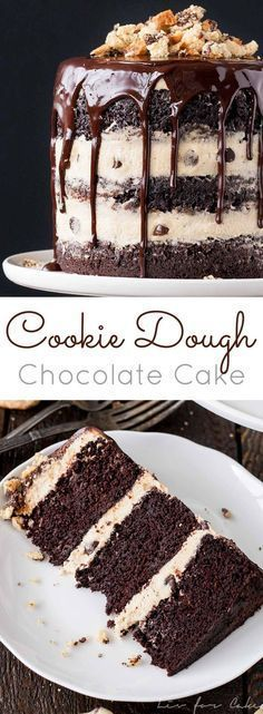 Combine classic chocolate cake with your favourite guilty pleasure in this Cookie Dough Chocolate Cake! Moist chocolate cake with cookie dough frosting. Just Desserts, Delicious Desserts, Dessert Recipes, Delicious Chocolate, French Desserts, Cookie Dough Cake, Chocolate Desserts, Cake Chocolate, Chocolate Frosting