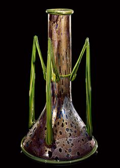 """DALE CHIHULY  GOLD OVER VIOLET VENETIAN   WITH GREEN HANDLES, 1991  16 X 9 X 9"""""""