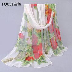 Spring Long Chiffon Silk scarves Floral Style beautiful Spring Flower Scarf Women scarves Sheer silk Foulard Stole P5A16256