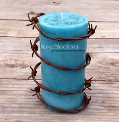© Scented Fall Barbed Wire Pillar Candle.  By HorseShoeFever. Western Home Decor, Candles, Horseshoe, Wedding Decorations, Country, Rustic, Modern, Farm, Ranch, Cowgirl, Cowboy, Horses, Rodeo, Wall Art, Birthday, Graduation, Christmas, Gift Idea, Present Ideas, Cabin, Horses, Equestrian, Toddler, Favor Shower Gift, Centerpiece, Table