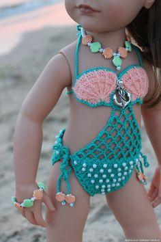 Crochet Baby Booties Crafts, t Crochet Baby Bikini, Baby Mermaid Crochet, Crochet Halter Tops, Baby Girl Crochet, Crochet Doll Clothes, Girl Doll Clothes, Doll Clothes Patterns, Barbie Clothes, American Girl Crochet