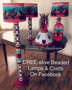 5 piece hand crafted lamp set. Pattern: Double Diamond. . *Showcasing Custom Order* . . #creeativebeadedlamps #beadedlamps #homedecor #customorder #beadwork #nativebeadwork #nativemade #nativeamerican #firstnations
