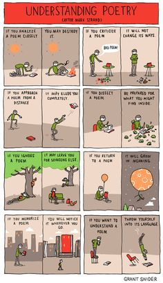 "The latest from Grant Snider at Incidental Comics. Done in honor of National Poetry Month and inspired by one of Snider's favorite poems, ""The New Poetry Creative Writing, Writing Tips, Writing Prompts, Writing Corner, Essay Writing, Arte Van Gogh, National Poetry Month, Writing Inspiration, Book Worms"