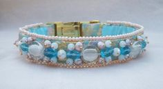 Items similar to Pastel Luxury Dog Collar Beaded in Pink and Blue with Gold, Handmade Beaded Dog Collar on Etsy Luxury Dog Collars, Dog Wedding, Pink Tone, Bead Weaving, Pastel Pink, Glass Beads, Beaded Bracelets, Pearls, Crystals