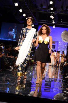 Shilpa Shetty with Masaba Gupta at the Lakme Fashion Week Winter/Festive 2014 opener. #Bollywood #Fashion #Style #Beauty