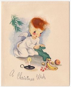 Vintage Greeting CardChristmas Angel Redhead Hair Emptying Stocking 1940s