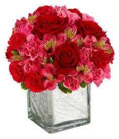 """Add some delicious reds to her day! Roses, carnations and alstromeria combine to light up her day. Delivered in a 4 inch square with a leaf wrap to cover stems. This is an all around design and although petite it speaks volumes of """" I love you""""."""