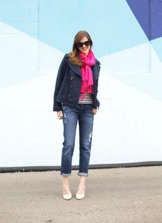 What I Wore   Repeat, maternity style, fuchsia, stripes, early spring transition