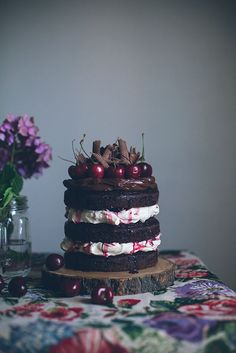 chocolate cake * thick meringue*repeat*thick favorite chocolate frosting*cherries*chocolate shavings