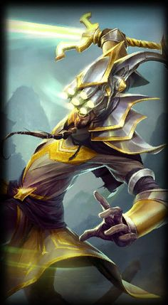 this is Master Yi from league of legends. it is the Wuju Bladesman. I like the colour matching on the character Lol League Of Legends, Champions League Of Legends, League Of Legends Characters, Dark Lord, Thing 1, Sexy Girl, Funny Games, Marvel Avengers, Pixel Art