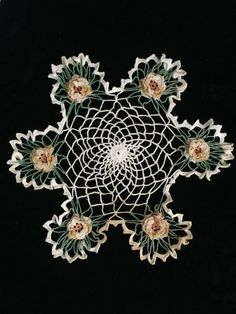 """Vintage Crocheted Doily Ivory Pale Gold Variegated 3D Roses Very Dainty 10"""""""