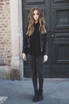 Leather + skinnies + more leather