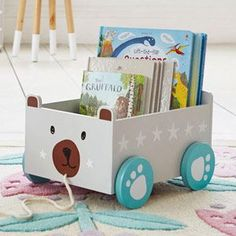Book storage House - Book Storage Cart, Miss Cat. - Informations About Book storage House Baby Toy Storage, Storage Cart, Kids Storage, Craft Storage, Storage Ideas, Kid Book Storage, Storage Boxes, Baby Decor, Kids Decor