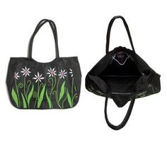 yb item 0069 Handbag, canvas, black with green and white flowers, 19x14-1/2x5 inch with daisy design, 26 inch handle. Sold individually.