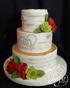 I've been wanting to do a birch bark cake for a long time! I think it turned out pretty cool. 40th Wedding Anniversary Cake, Anniversary Ideas, Ruby Anniversary, Pretty Cakes, Cute Cakes, Dad Cake, Woodland Cake, Love Cake, Amazing Cakes