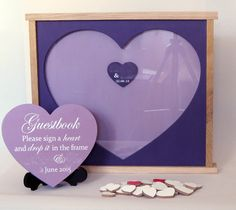 Wedding drop box, guestbook with hearts to sign on, hand painted in your choice of colour with free heart sign on stand, any size you need by MikesFineDesigns on Etsy