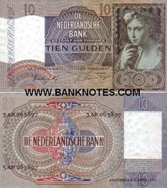 """Netherlands 10 Gulden 1941 Front: """"Young girl"""" painting by Paulus Moreelse; Back: Coat of arms. Watermark: grapes."""
