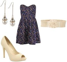 Forever 21 Outfit Ideas | Products: Pearl Earrings- Forever 21 , Floral Dress- Forever 21 , Belt ...