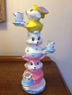 Vtg Very Rare Holt Howard Bunny Rabbit Totem Candle Holder Easter Japan
