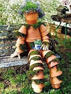 "164214_536763099707540_99604666_n.jpg 300×400 pixels [ ""What a wonderfully creative idea! - Have a spot of tea with this entertaining Flower Pot Man in the garden! Do you live where a Flower Pot Man would stay green?"", ""I"